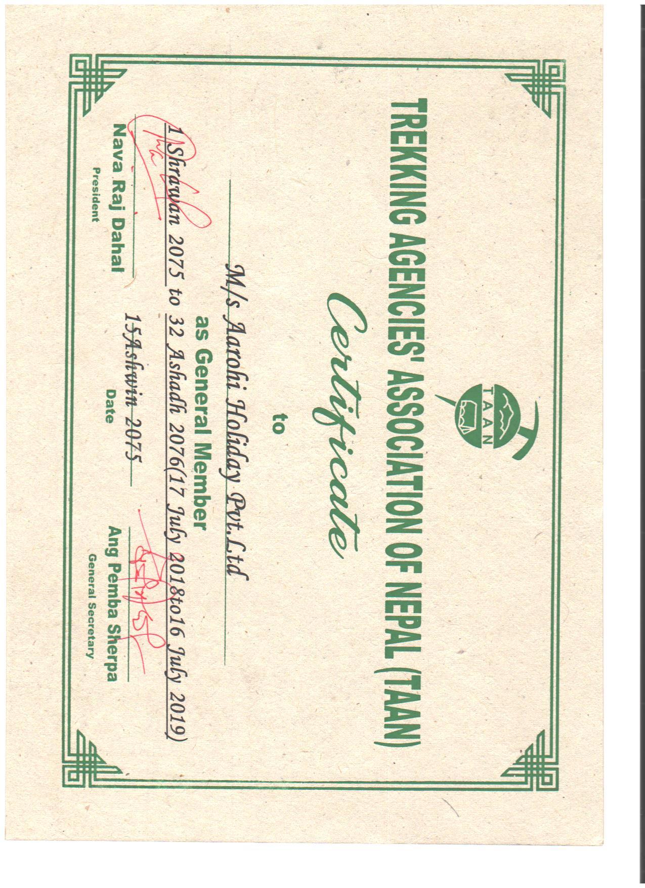 trekking certificate